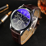Men's Leather Blue Ray Glass Quartz Luxury Analog Wrist-Watch