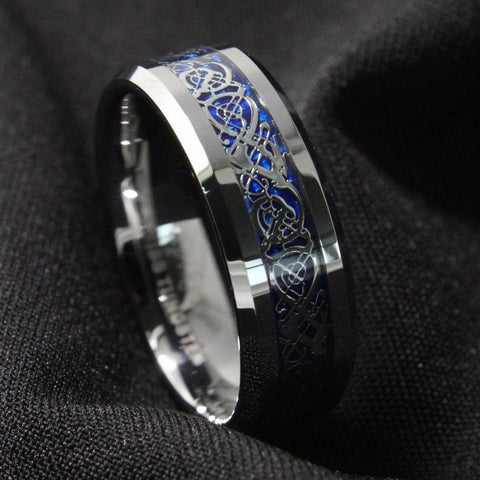 Cobalt Dragon Tungsten Carbide Ring