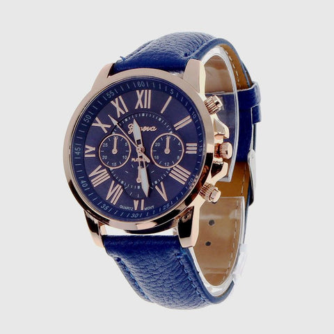 Geneva Men's/Women's Casual Roman Numerals Quartz Leather Wrist Watch