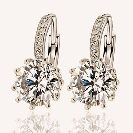 Crystal Round Geometry Silver Alloy Fashion Earrings