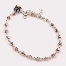 Flowers with Heart Designer Silver Ankle Bracelet