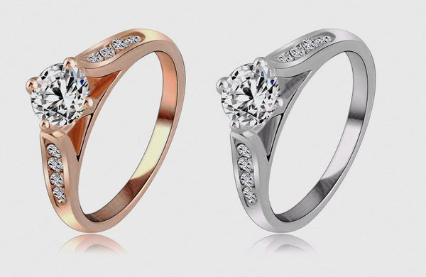 Rose Gold Plated Austrian Crystal Commitment Ring