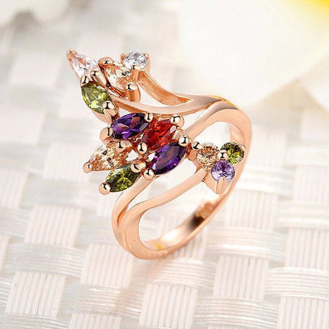 Gold Plated Ring for Women with AAA Colorful Cubic Zircon