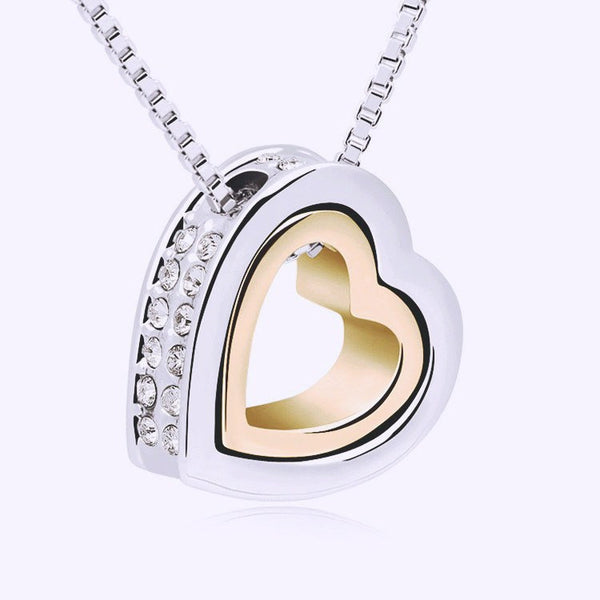 Austrian Crystals Double Heart pendant necklace