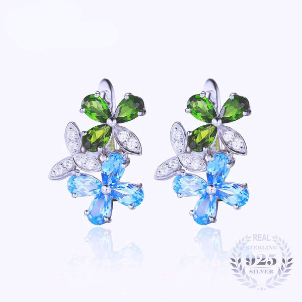 925 Sterling Silver Gemstone Earrings 3.1ct
