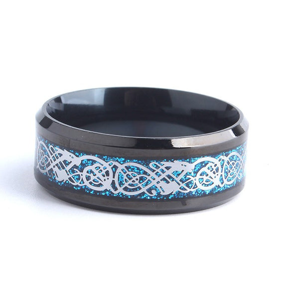 Cobalt Dragon Black Carbon Ring Silver
