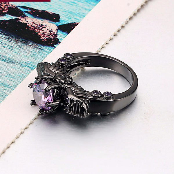 Amethyst Crystal Skeleton Ring