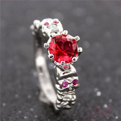Crystal Ruby Skull Ring Size 6-9