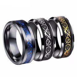 Tungsten Dragon Inlay Ring (8 Color Styles)