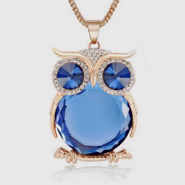 Rhinestone Crystal Owl Long Chain Necklace, 8 color Pendant for women