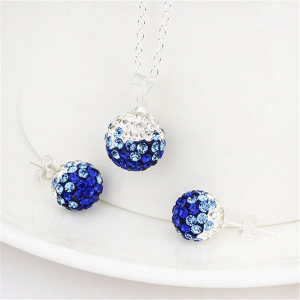 Crystal Ball Pendant Rhinestone Necklace/Stud Earring set