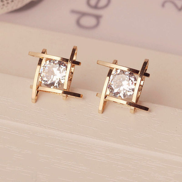 Black Rhinestone Crystal Square Stud Earrings