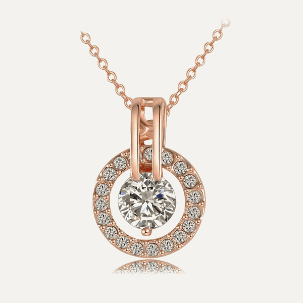 Women's Rose Gold Plated Genuine Austrian Crystal Round Pendant Necklace
