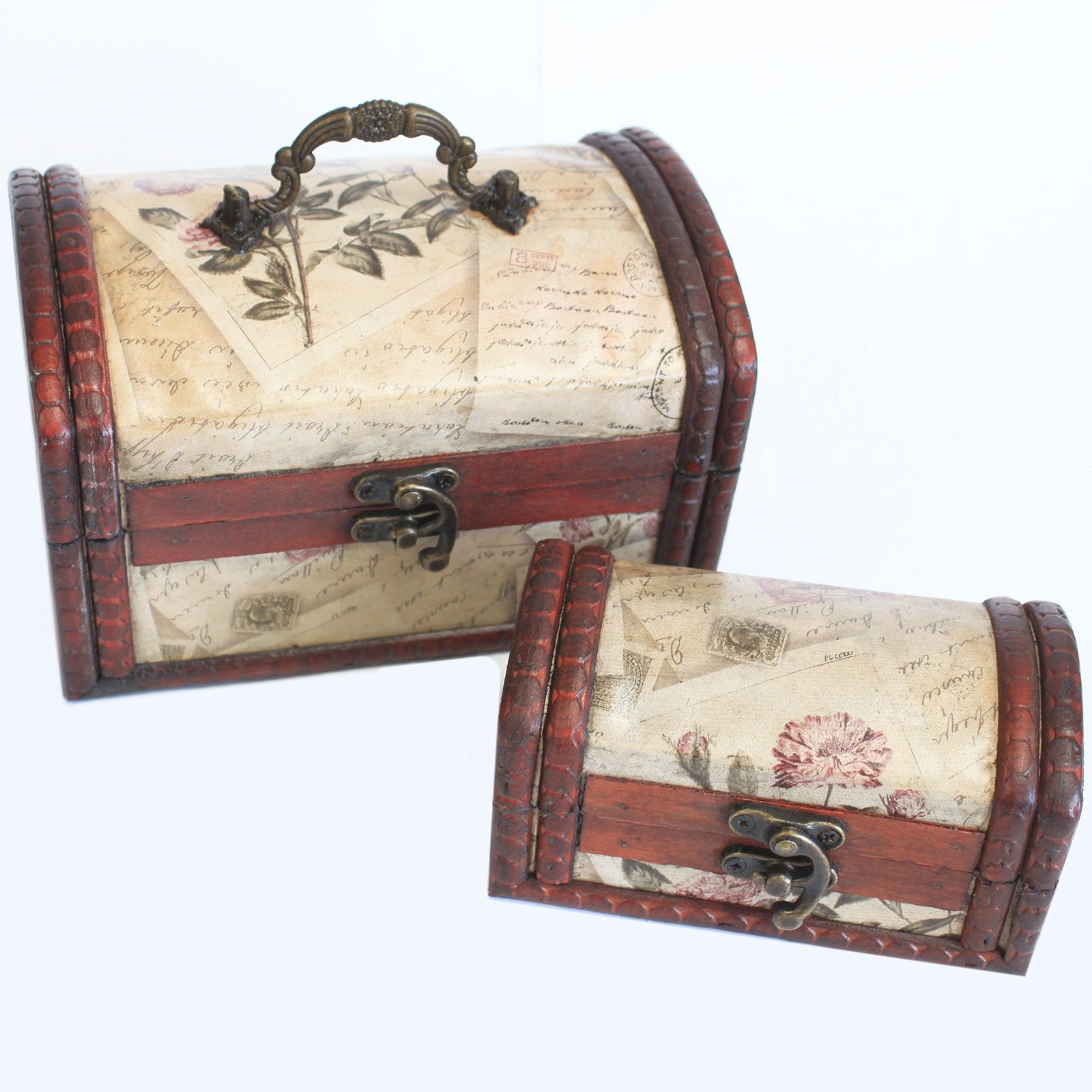Sets of 2 Colonial Boxes - Rose Design, Pill Boxes by Low Cost Gifts