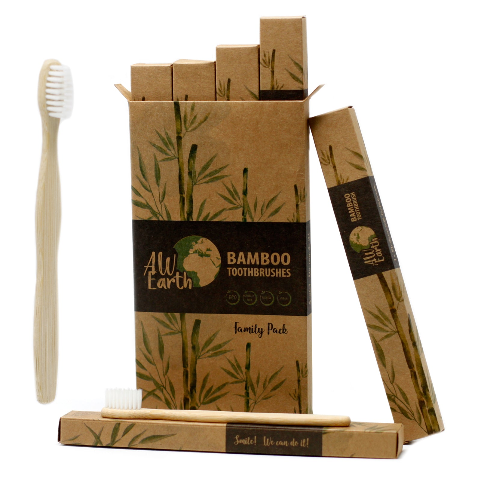 Bamboo Toothbrush - White - Family Pack of 4 - Med Soft, Oral Care by Low Cost Gifts