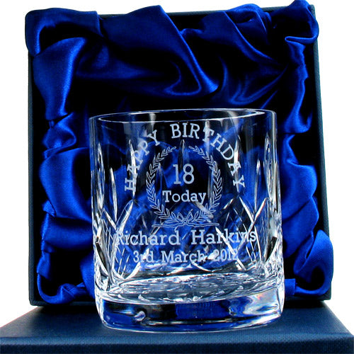 Lead Crystal Engraved 18th Birthday Whisky Glass, Whisky by Low Cost Gifts