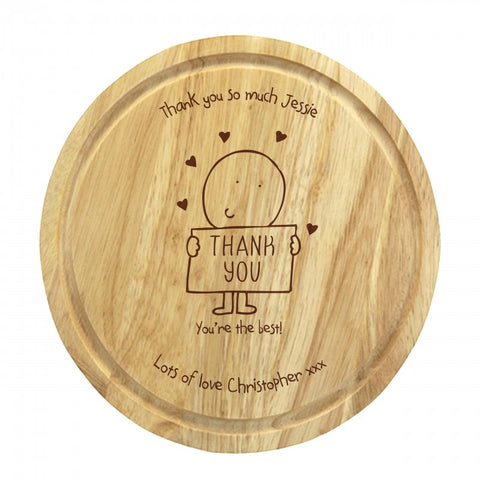 Chilli & Bubble's Thank You round chopping board