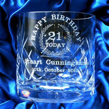 Lead Crystal Engraved 21st Birthday Whisky Glass., Whisky by Low Cost Gifts