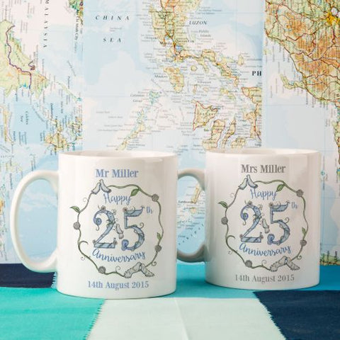 Personalised 25th Wedding Anniversary Mug Set