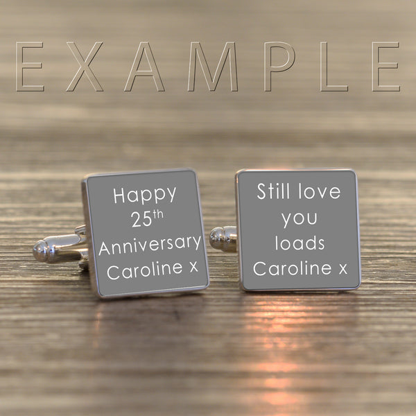 Any Message Square Cufflinks | Gifts24-7.co.uk