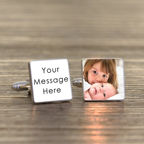 Any Message Square Cufflinks with Photo | Gifts24-7.co.uk