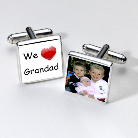 We Love Grandad Photo Cufflinks