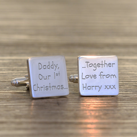 Silverplated Daddy Our 1st Christmas... Cufflinks