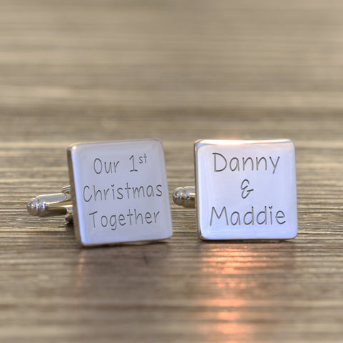 Silverplated Our 1st Christmas Together - Square Cufflinks