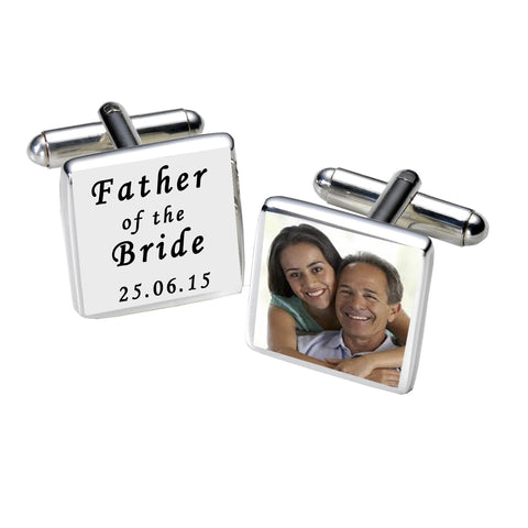 Father of the Bride Photo Cufflinks-White