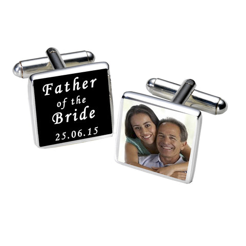 Father of the Bride Photo Cufflinks-Black