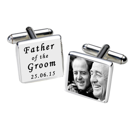 Father of the Groom Photo Cufflinks-White