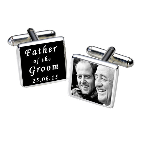 Father of the Groom Photo Cufflinks-Black