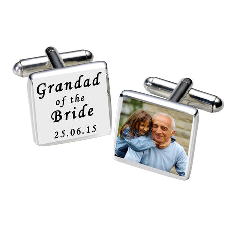 Grandad of the Bride Photo Cufflinks-White | Gifts24-7.co.uk
