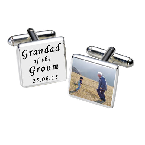 Grandad of the Groom Photo Cufflinks-White | Gifts24-7.co.uk