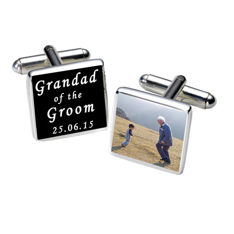 Grandad of the Groom Photo Cufflinks-Black | Gifts24-7.co.uk