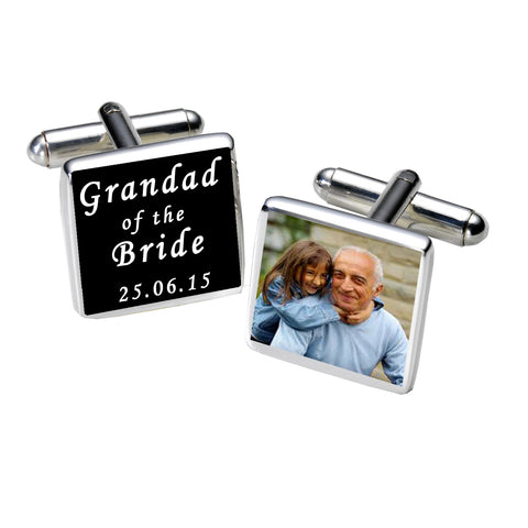 Grandad of the Bride Photo Cufflinks-Black | Gifts24-7.co.uk