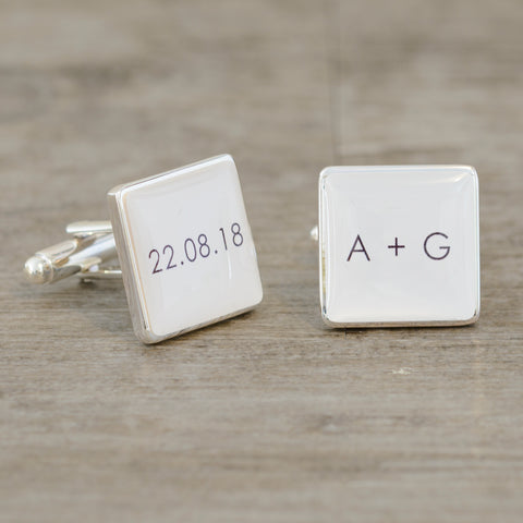 Initials & Date Cufflinks | Gifts24-7.co.uk