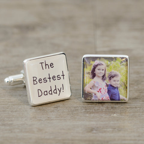 The Bestest Daddy! Photo Cufflinks | Gifts24-7.co.uk