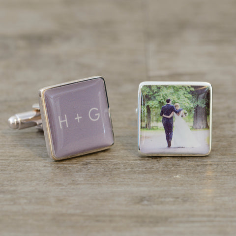 Initials & Photo Cufflinks | Gifts24-7.co.uk