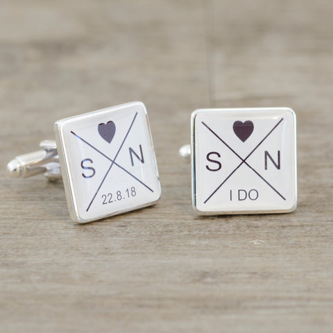 Initials & Date I DO Cufflinks | Gifts24-7.co.uk