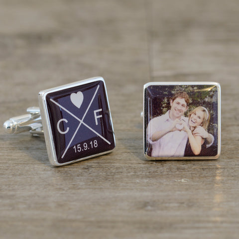 Initials Date & Photo Cufflinks | Gifts24-7.co.uk