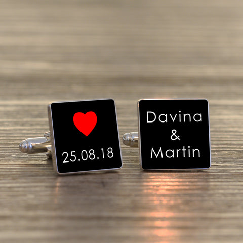 Date & Names Cufflinks | Gifts24-7.co.uk