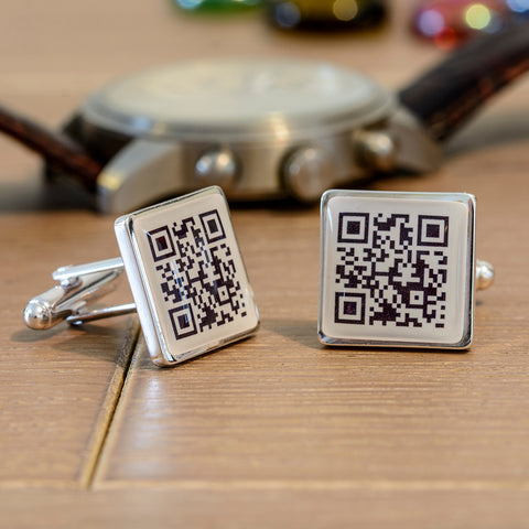 Silverplated Secret Message QR Cufflinks