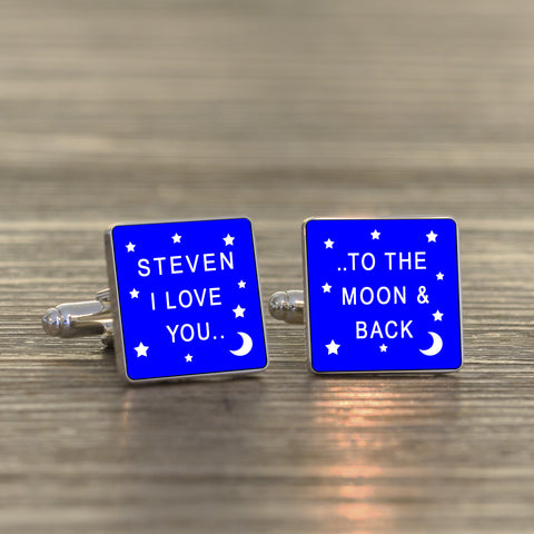 Personalised I LOVE YOU.. - Square Cufflinks  - Availlable in a range of colours | Gifts24-7.co.uk