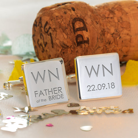 Initial Wedding Role - Square Cufflinks | Gifts24-7.co.uk