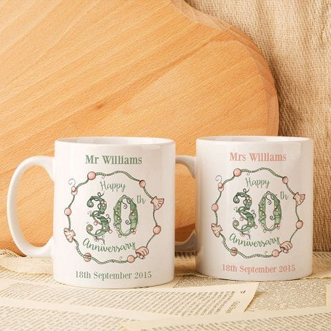 Personalised 30th Wedding Anniversary Mug Set