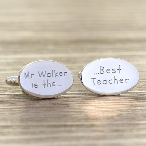 Personalised Best Teacher Cufflinks | Gifts24-7.co.uk