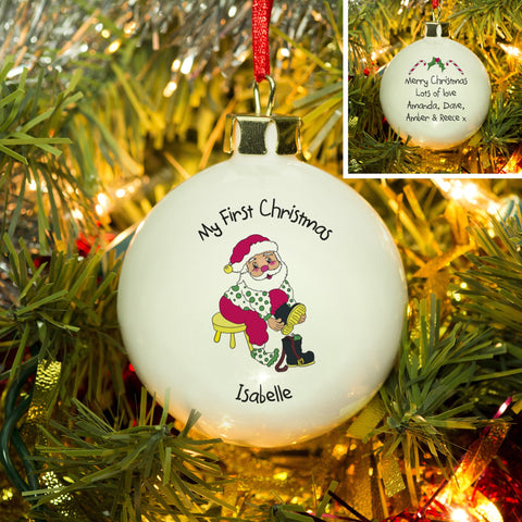 First Christmas Santa Bone China Bauble