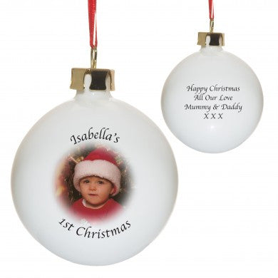 Personalised Photo Bone China Bauble