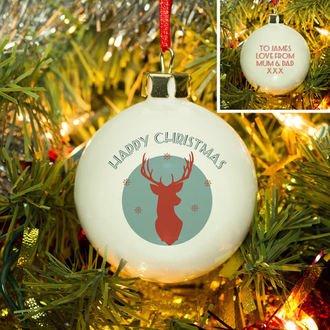 Turquoise Stag Bone China Bauble